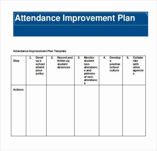 School Improvement Plan Template Inspirational Sample attendance Planner 8 Free Documents Download In