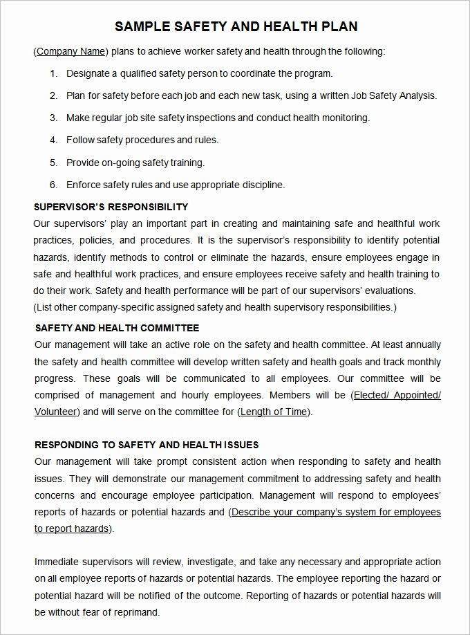 School Safety Plan Template Beautiful Construction Safety Plan Template 19 Free Word Pdf