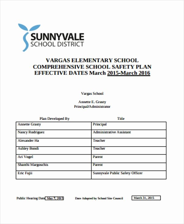 School Safety Plan Template Elegant 30 Safety Plan formats