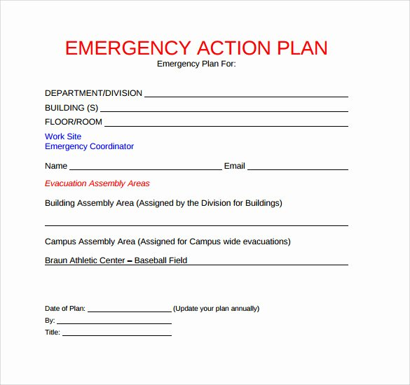 School Safety Plan Template Fresh 11 Sample Emergency Action Plan Templates