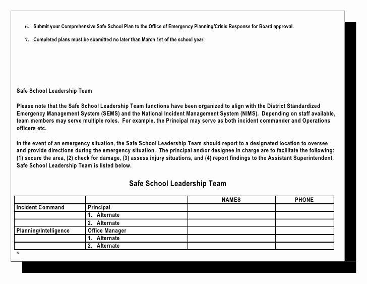 School Safety Plan Template New Abcusd Prehensive Emrg Plan Template 3