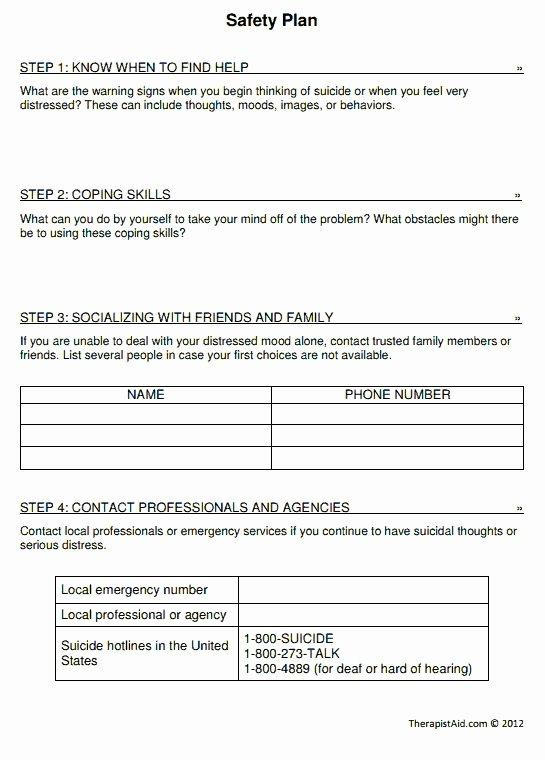 School Safety Plan Template New Safety Plan Worksheet