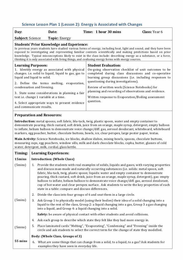 Science Lesson Plan Template Awesome Energy Lesson Plans