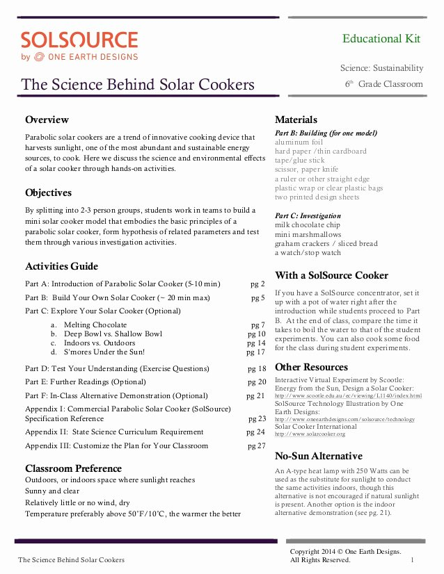 Science Lesson Plan Template Beautiful solsource Lesson Plan the Science Behind solar Cookers