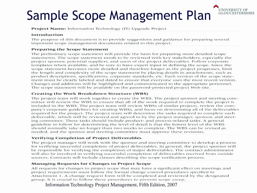 Scope Management Plan Template Elegant Project Scope Management Plan Statement Scope Template