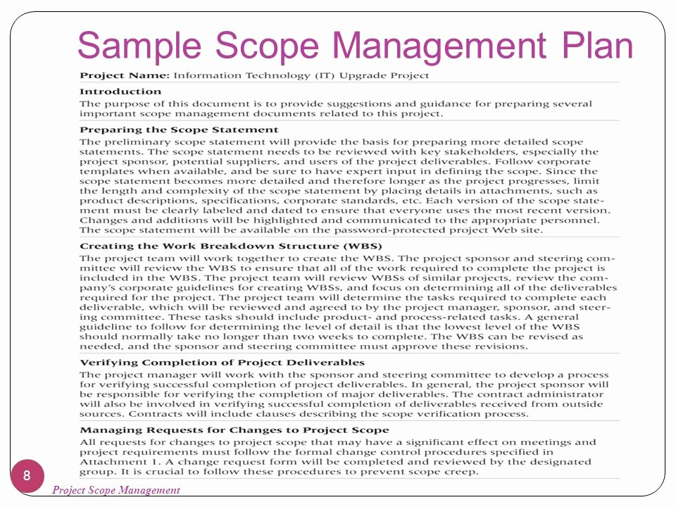 Scope Management Plan Template Inspirational Chapter 5 Project Scope Management Ppt Video Online
