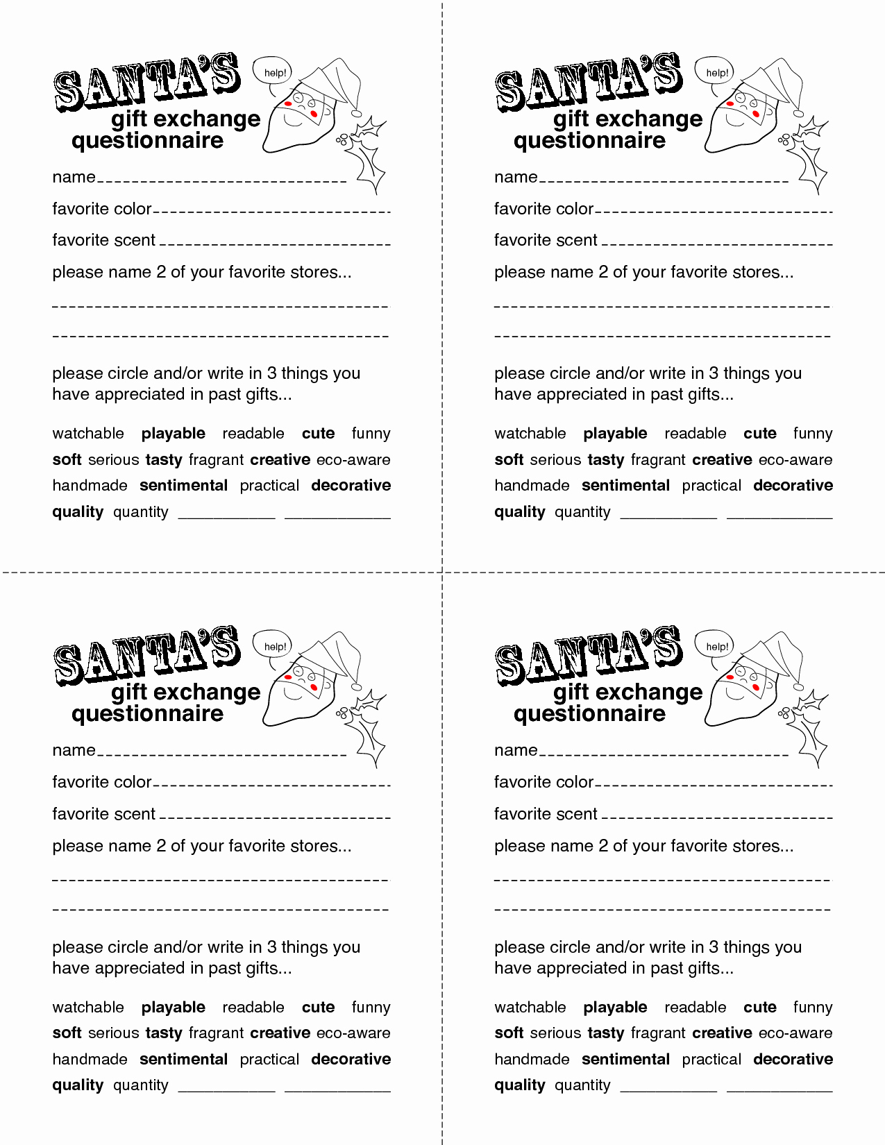 Secret Santa Template form Awesome Secret Santa Gift Exchange forms