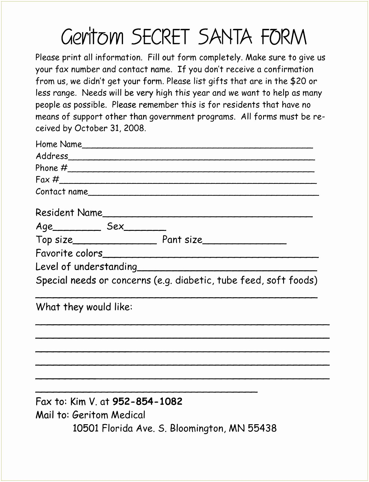 Secret Santa Template form New Lovely Secret Santa Questionnaire form Pdf