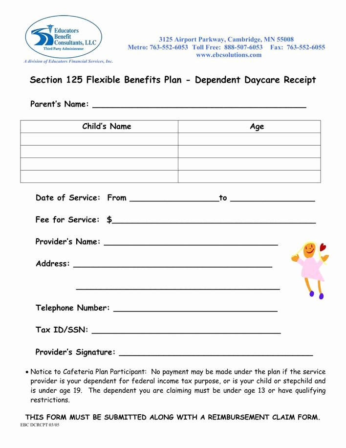 Section 125 Plan Document Template Elegant Download Free Dependent Daycare Receipt Template Download