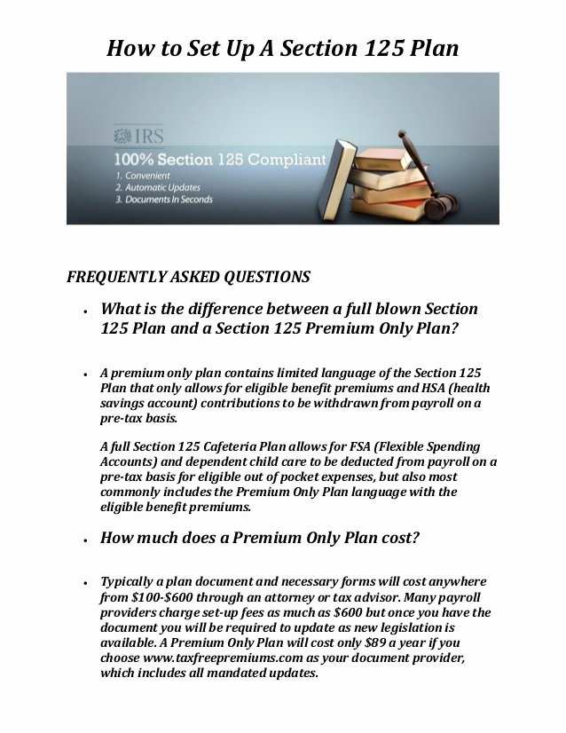 Section 125 Plan Document Template Lovely Tax Free Premiums Section 125 Plan Document