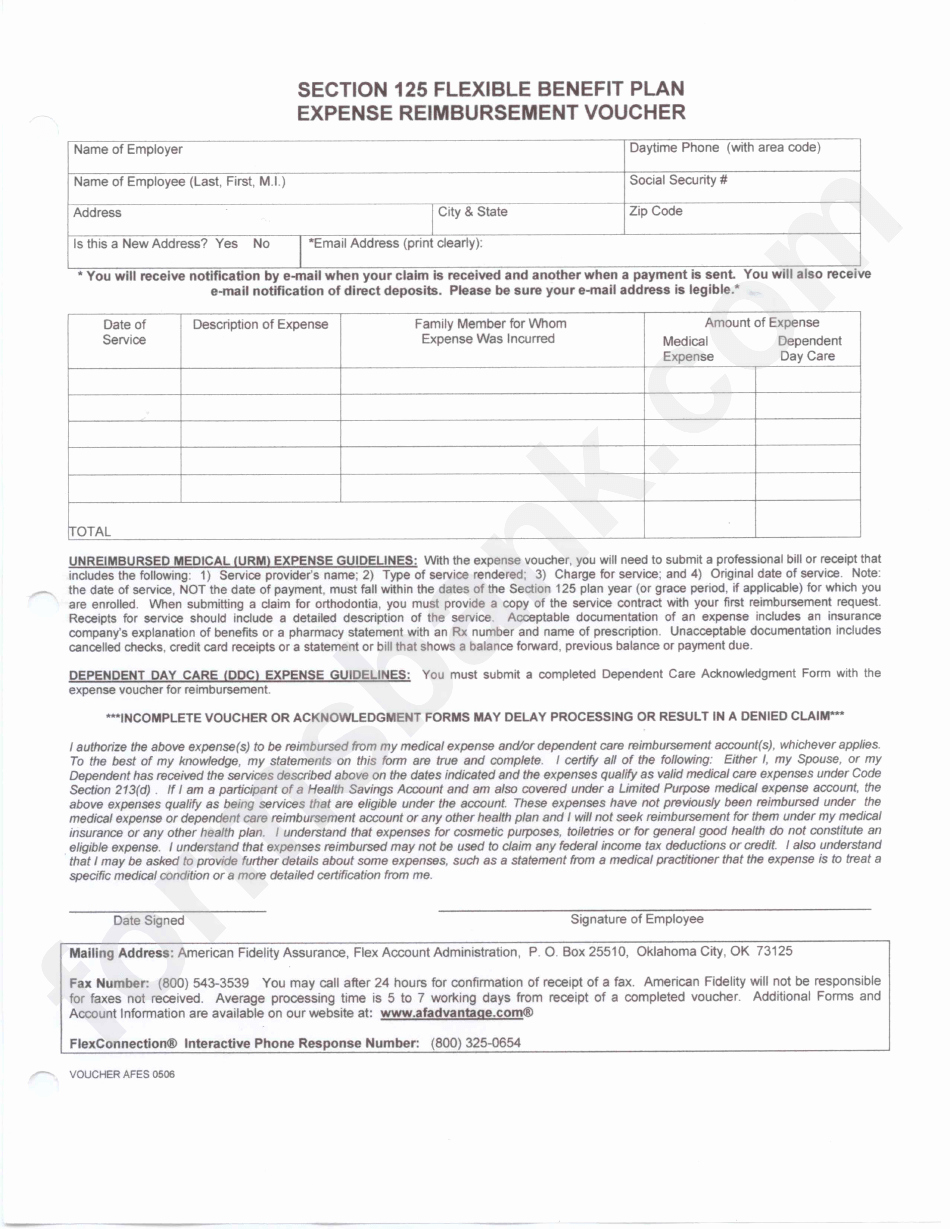Section 125 Plan Documents Template Lovely American Fidelity Section 125 Expense Reimbursement