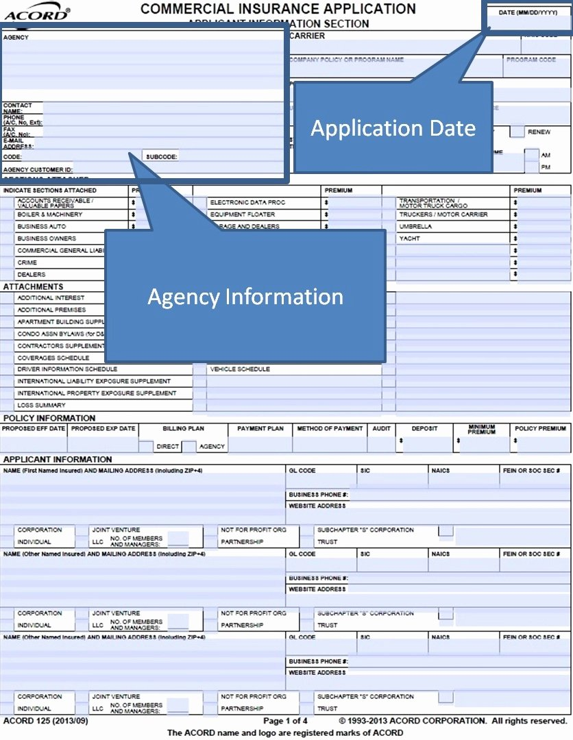 Section 125 Plan Documents Template Unique Acord Application 125 Bing Images