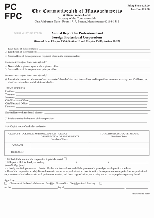 Section 125 Plan Documents Template Unique Fillable form Pc Fpc Annual Report for Professional and