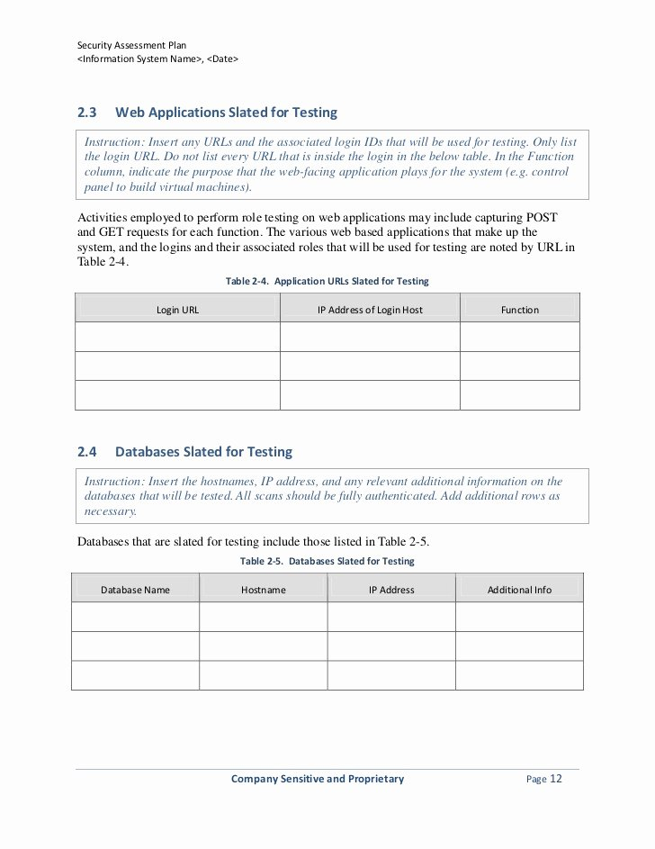 Security assessment Plan Template Awesome Security assessment Plan Template