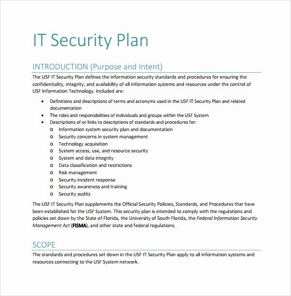 Security assessment Plan Template Inspirational 10 Security Plan Templates