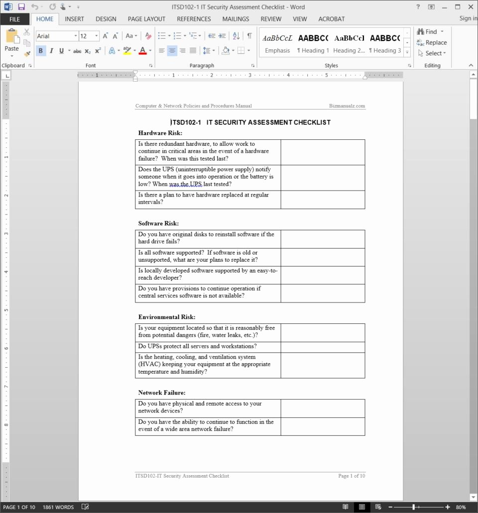 Security assessment Plan Template New It Security assessment Checklist Template