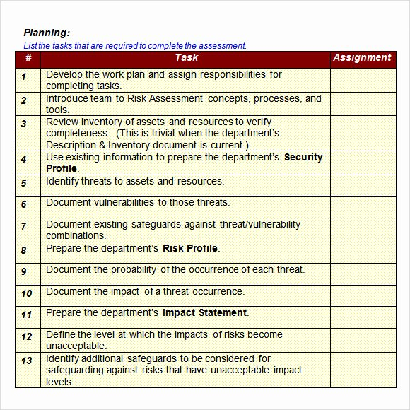 Security assessment Plan Template Unique Sample It Risk assessment Template 12 Free Documents In
