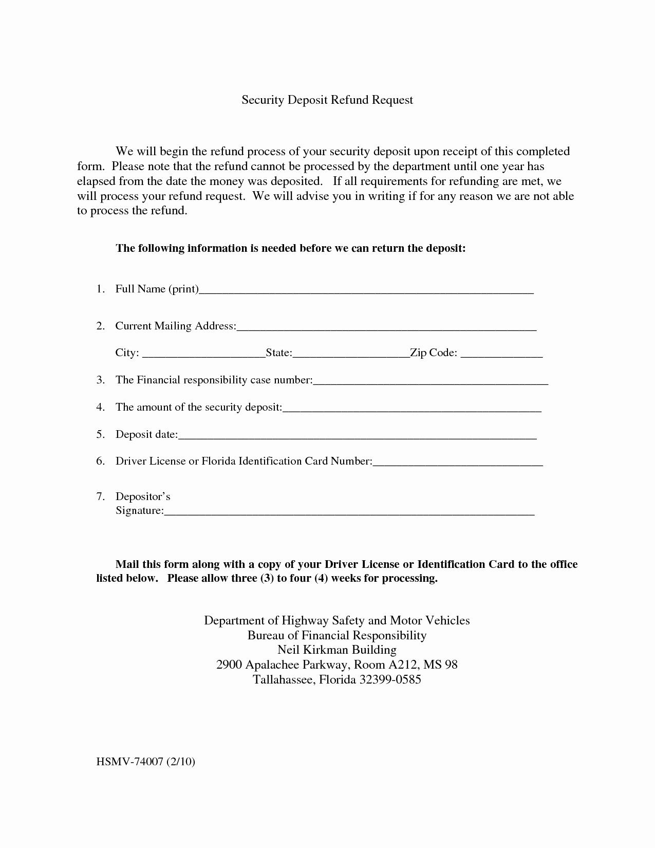 Security Deposit Letter format Beautiful Security Deposit Refund Letter 2018
