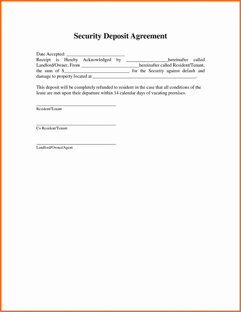 Security Deposit Letter format Best Of Security Deposit Agreement format Best 25 Fresh Rental