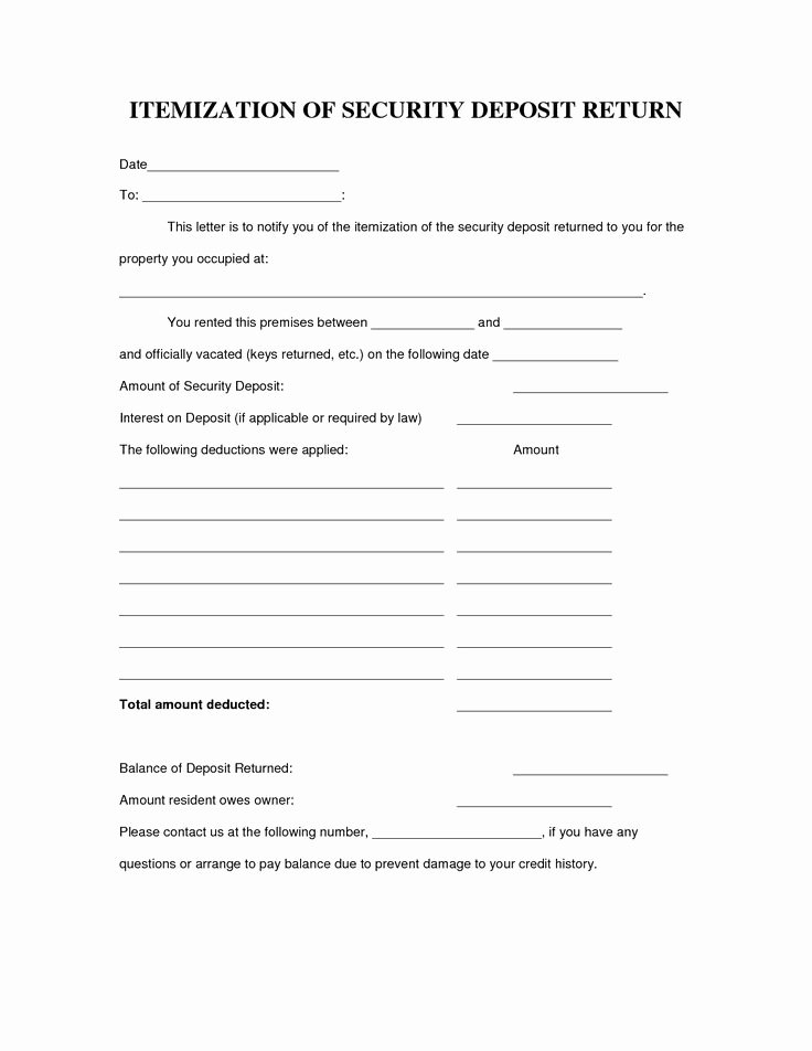 Security Deposit Letter format Elegant 40 Awesome Security Deposit form Images Rental