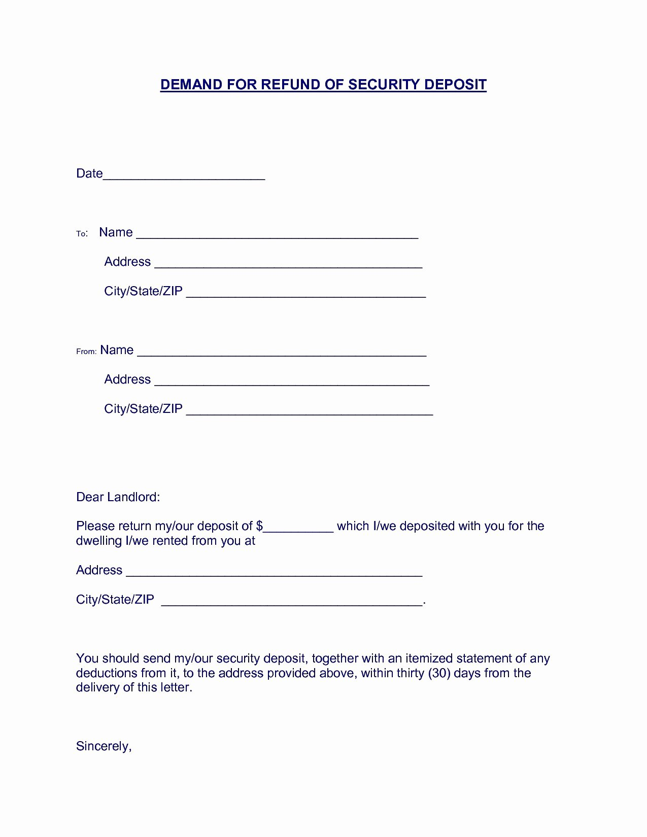 Security Deposit Letter format Elegant Security Deposit Demand Letter Template Florida Collection