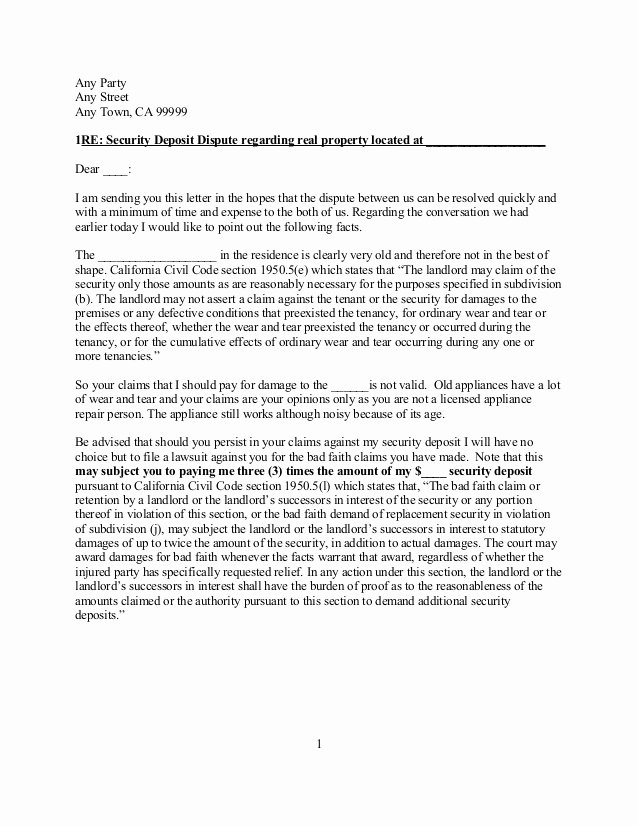 Security Deposit Letter format Fresh Free Sample California Security Deposit Dispute Letter