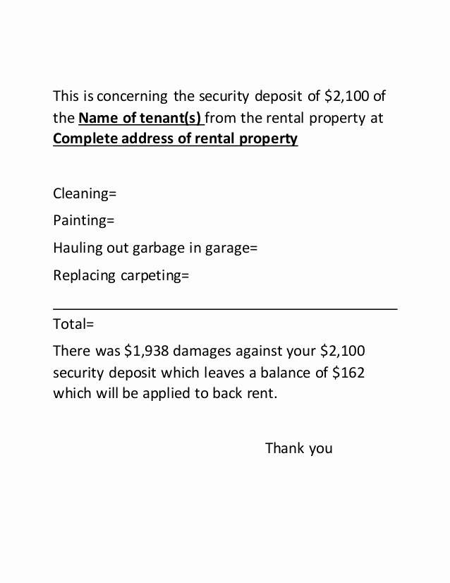 Security Deposit Letter format Fresh Security Deposit Letter