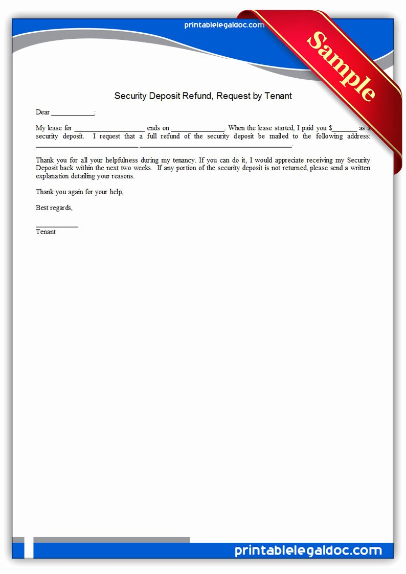 Security Deposit Letter format Inspirational Free Printable Security Deposit Refund Request by Tenant