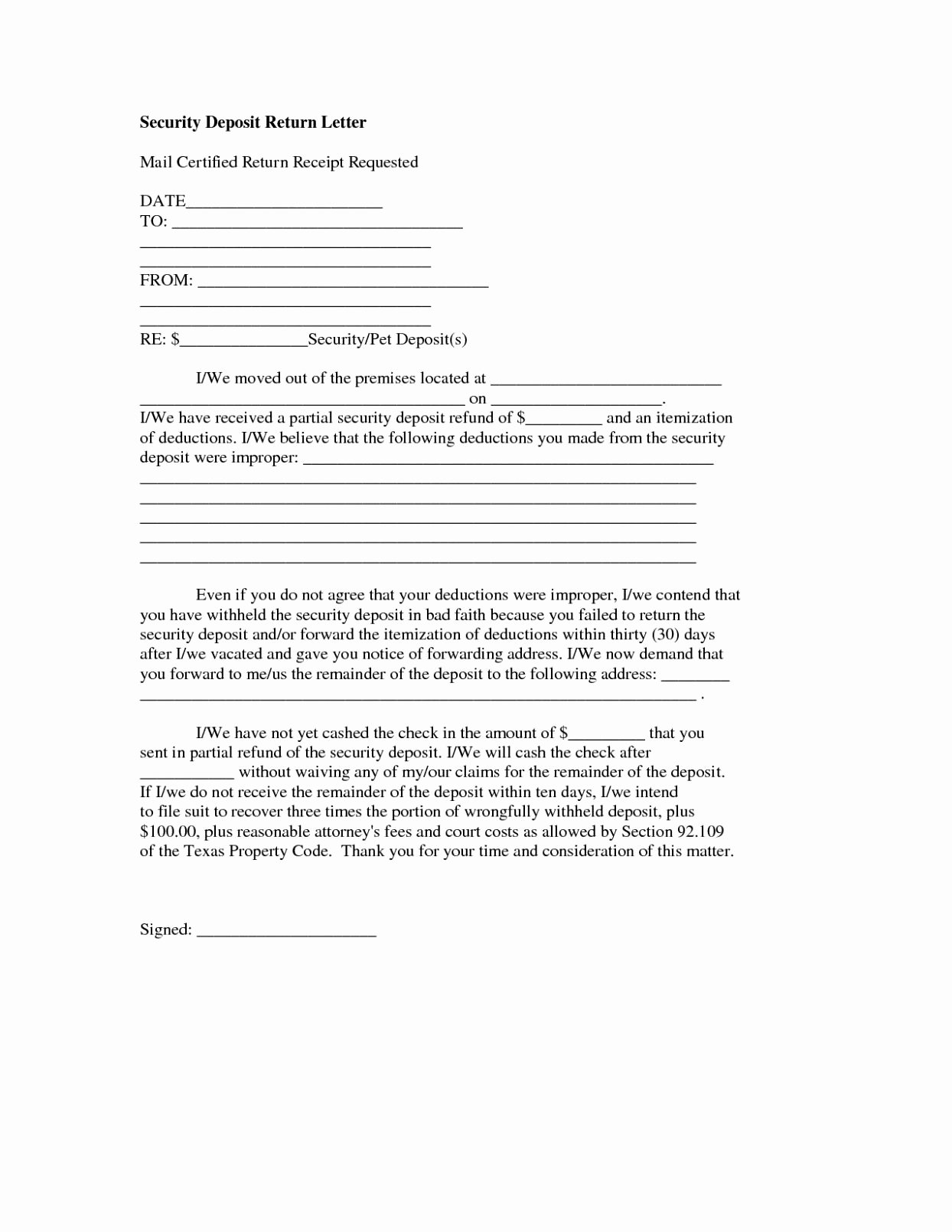 Security Deposit Letter format Inspirational Receipt Deposit Letter Examples Rental Template for