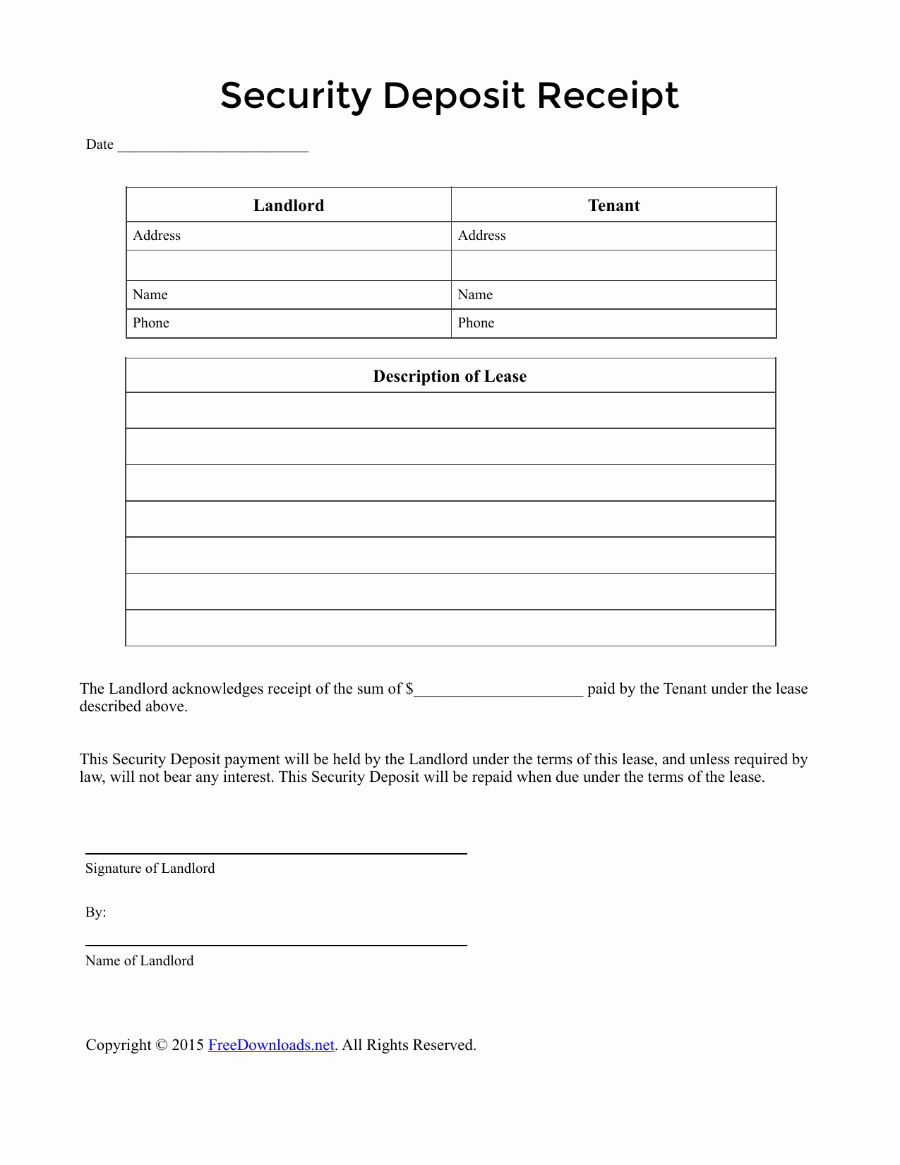 Security Deposit Letter format Unique Download Security Deposit Receipt Template Pdf