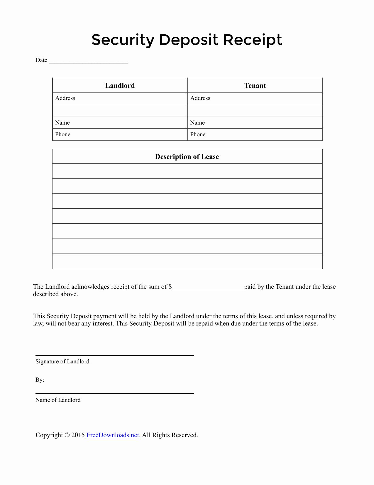 Security Deposit Letter format Unique Download Security Deposit Receipt Template Pdf