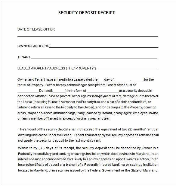 Security Deposit Receipt Template Best Of 22 Deposit Receipt Templates Doc Pdf