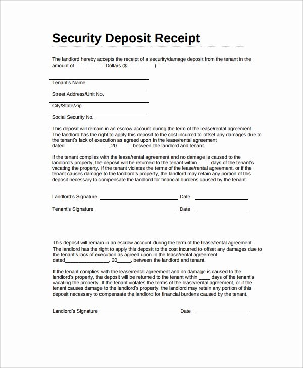 Security Deposit Receipt Template Best Of 9 Security Deposit Receipt Templates