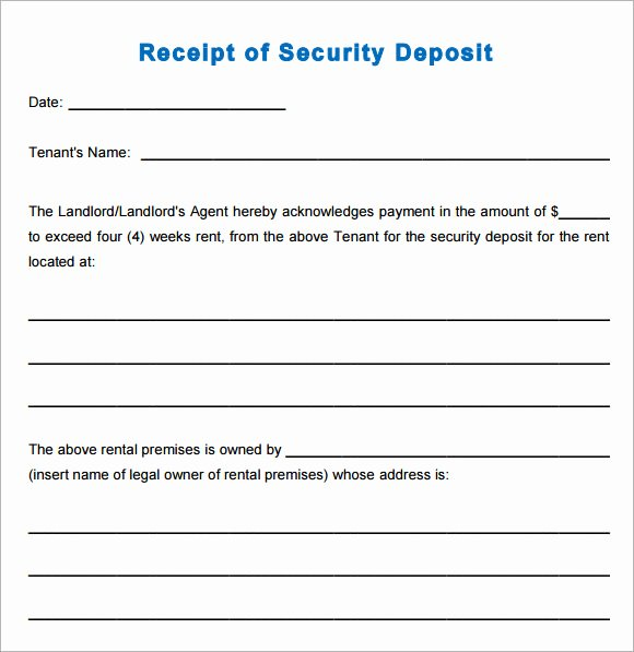 Security Deposit Receipt Template Fresh 10 Printable Receipt Templates – Free Samples Examples
