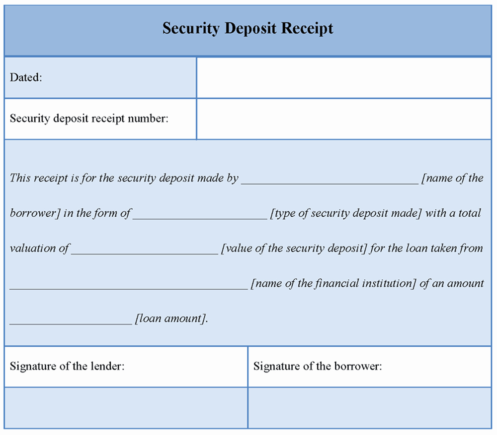 Security Deposit Receipt Template Fresh Download Printable Security Deposit Receipt Template Word