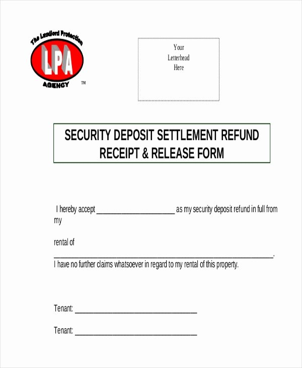 Security Deposit Receipt Template Fresh Sample Security Deposit Refund form 8 Free Documents In Pdf
