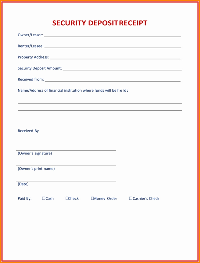 Security Deposit Receipt Template Inspirational 7 Security Deposit Receipt Pdf