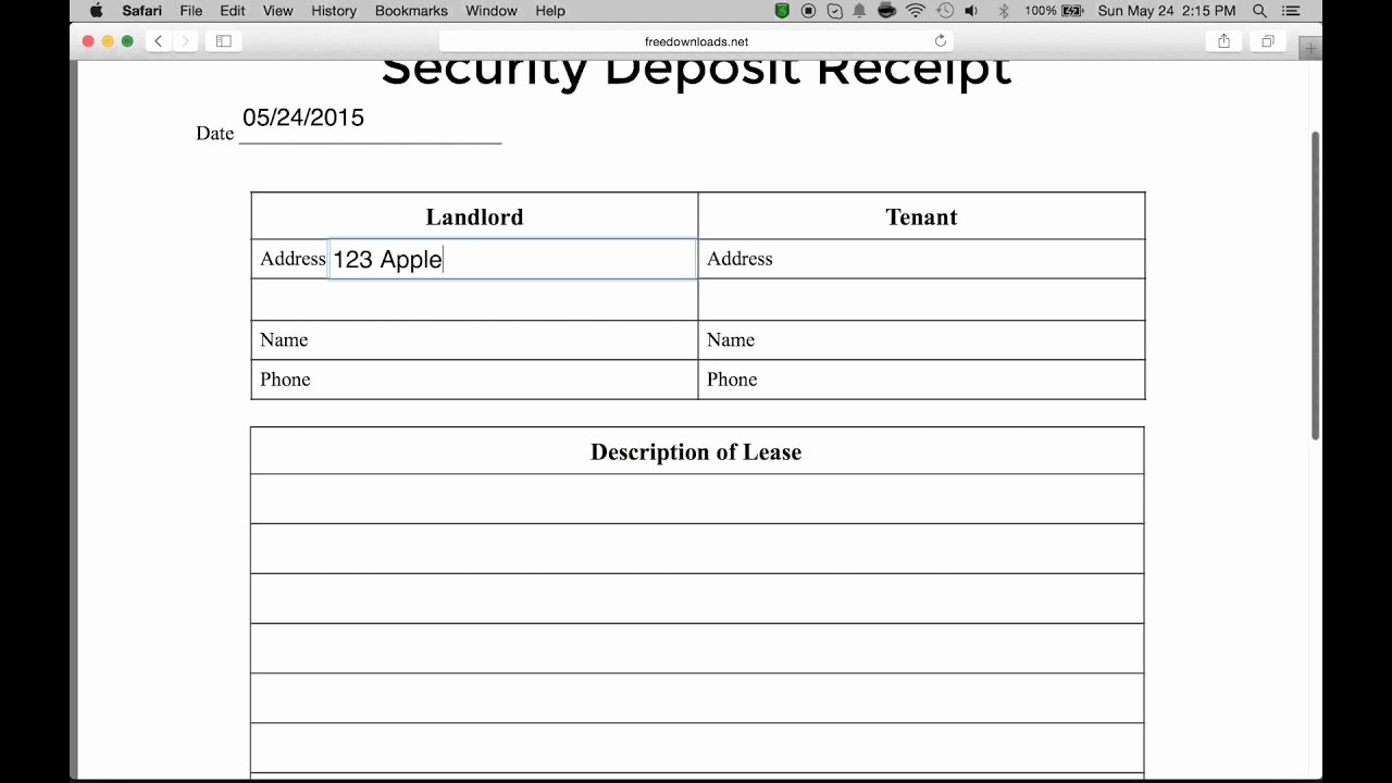 Security Deposit Receipt Templates Awesome How to Write A Security Deposit Receipt form Pdf
