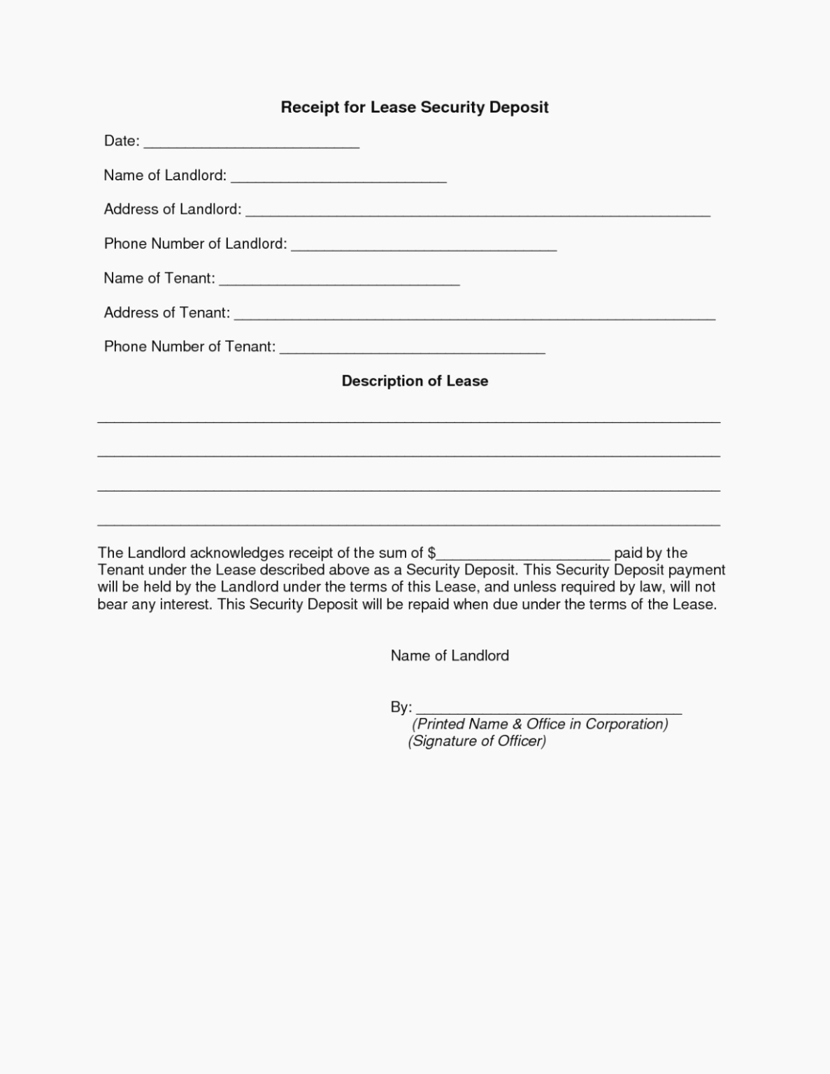 Security Deposit Receipt Templates Awesome Receipt Deposit Letter Examples Rental Template for