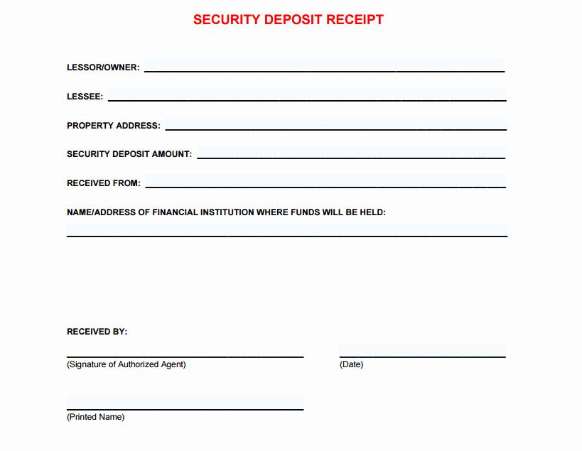 Security Deposit Receipt Templates Elegant 5 Free Security Deposit Receipt Templates Word Excel