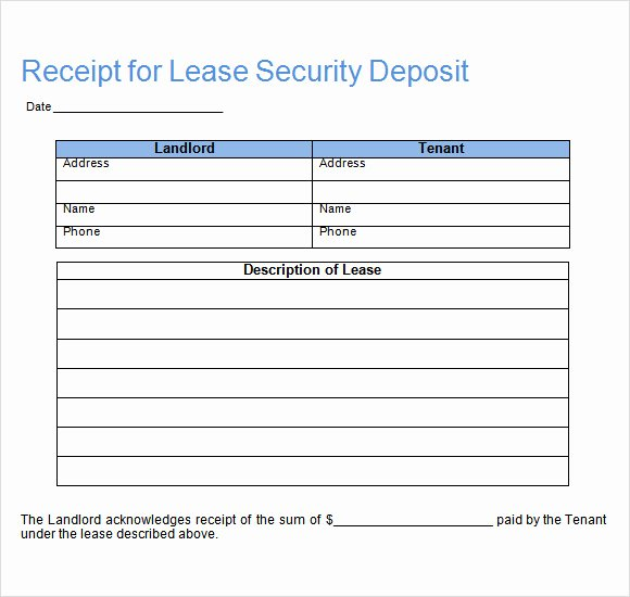 Security Deposit Receipt Templates Lovely 16 Sample Deposit Receipt Templates to Download