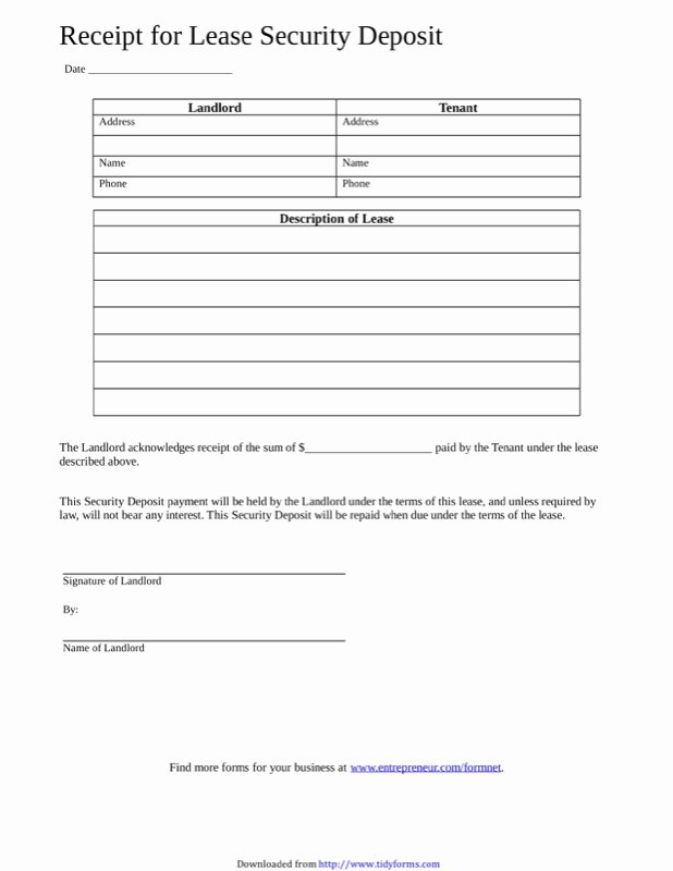 Security Deposit Receipt Templates Lovely Free Security Deposit Receipt