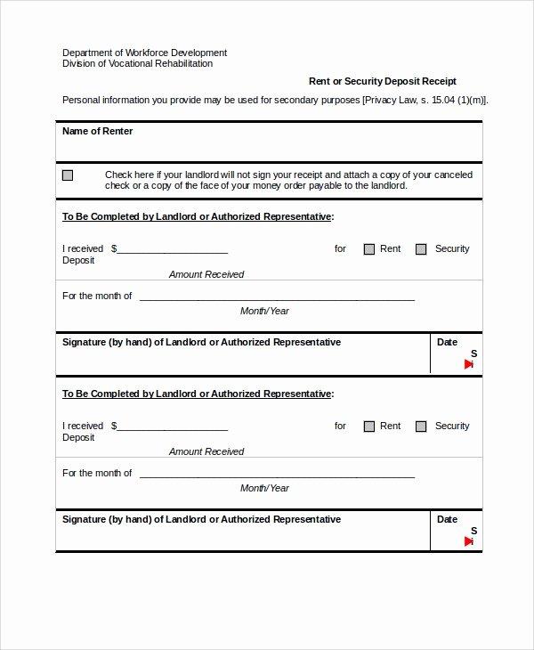 Security Deposit Receipt Templates Luxury Sample Security Deposit Receipt 8 Free Documents
