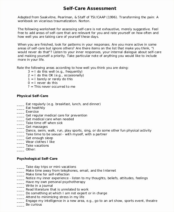 Self Care Plan Template Inspirational 7 Self Care assessment Samples