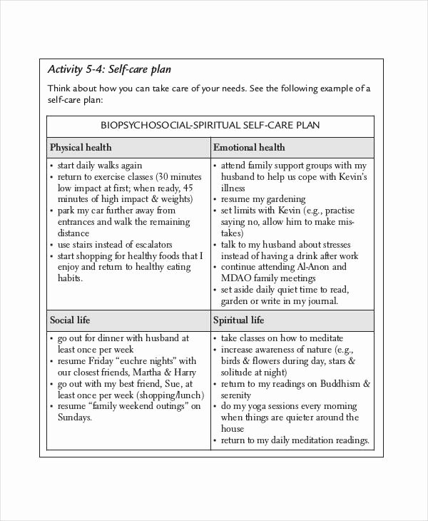 Self Care Plan Template Inspirational Care Plan Template 16 Word Pdf format Download
