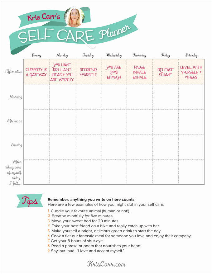 Self Care Plan Template Inspirational My Crazy Y Self Care Planner Kriscarr