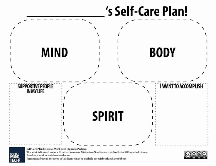 Self Care Plan Template Lovely A Self Care Plan Template for Pdf Version