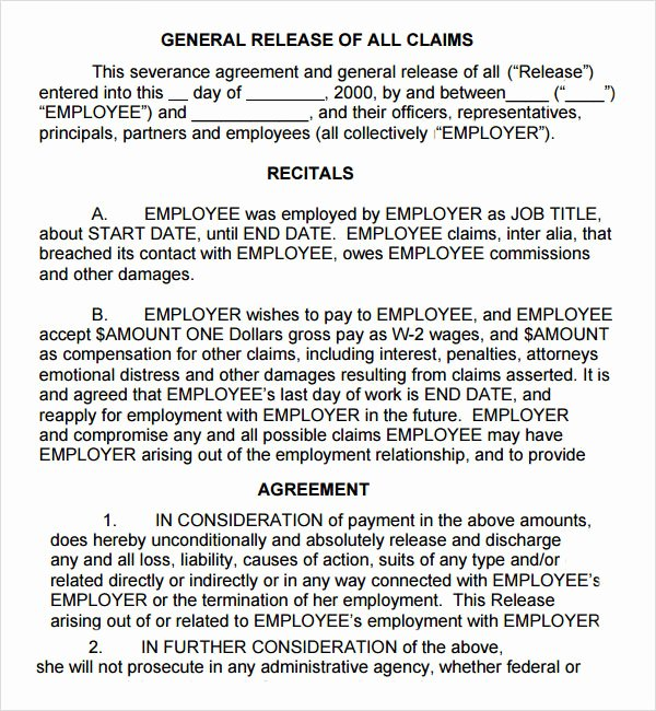 Severance Agreement Over 40 Template Awesome Severance Agreement 6 Free Pdf Doc Download