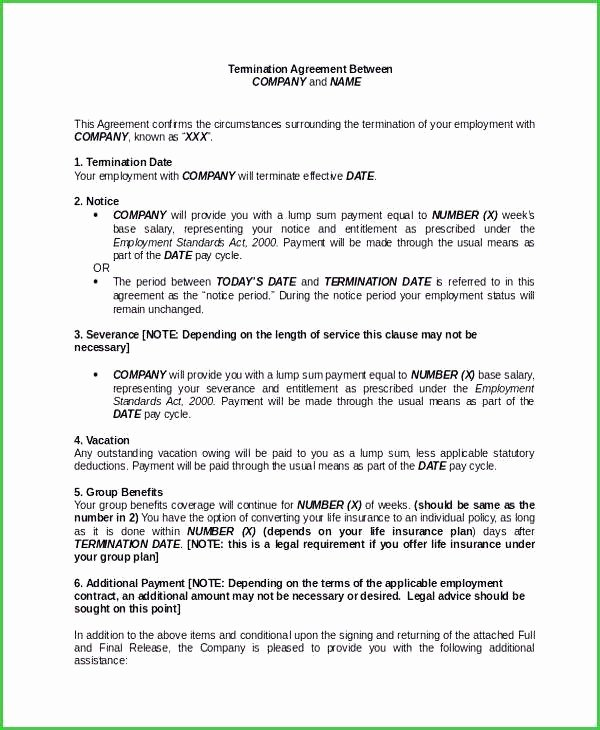 Severance Agreement Over 40 Template Awesome Severance Agreement Template