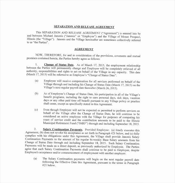 Severance Agreement Over 40 Template Best Of Severance Agreement Template